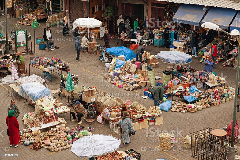 Wicker market inside Marrakech souk. Morocco. stock photo