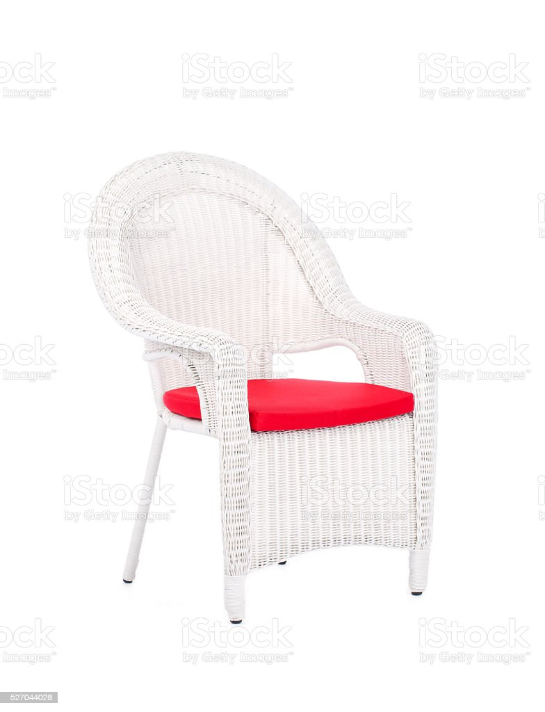 Wicker rattan chair, isolated on a white background. stock photo