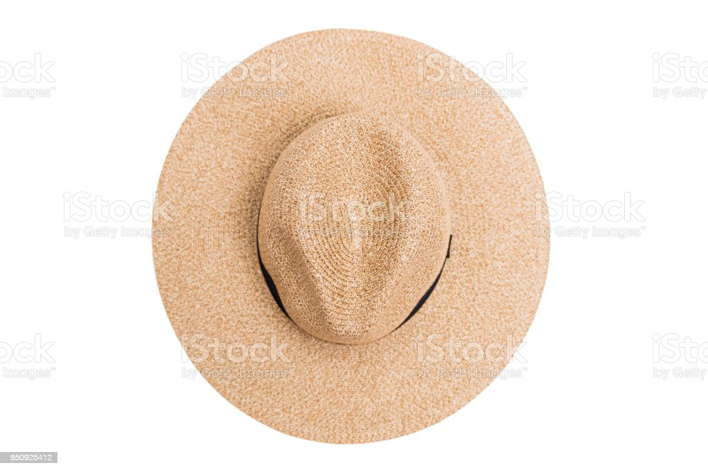 Wicker straw flaxen hat on isolated background stock photo