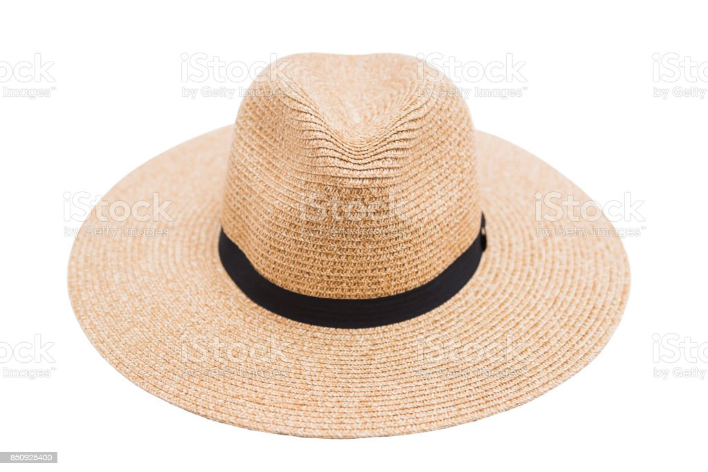 Wicker straw hat and ribbon on isolated background stock photo