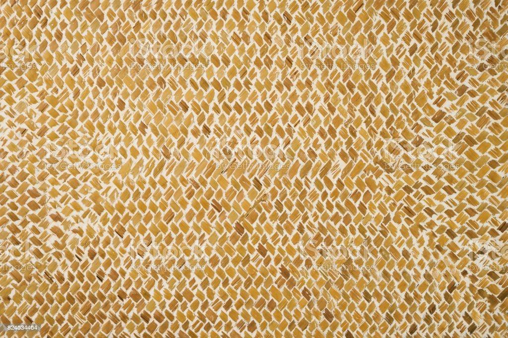 Wicker wattled straw handmade texture, abstract background, closeup stock photo