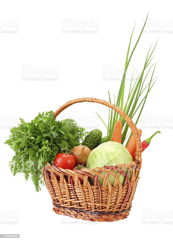 Wicker with vegetables stock photo