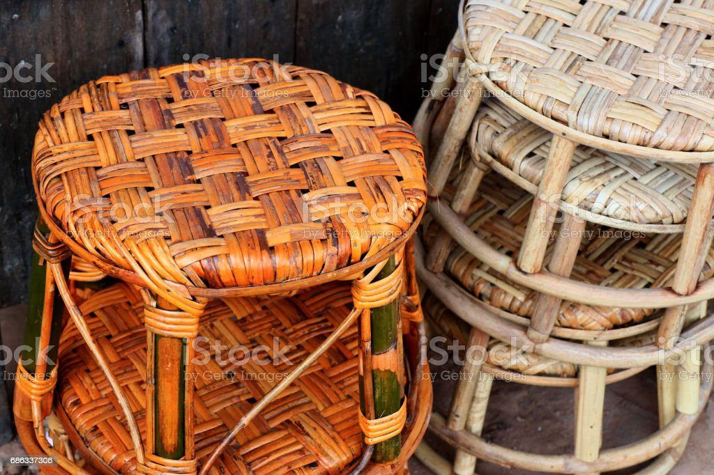Wicker wooden background. Rattan woven top view closeup. Rattan chair...