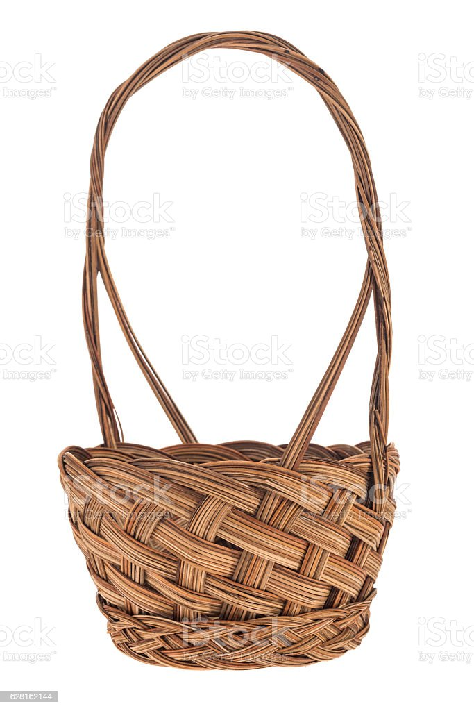 Wicker woven basket on a white background stock photo