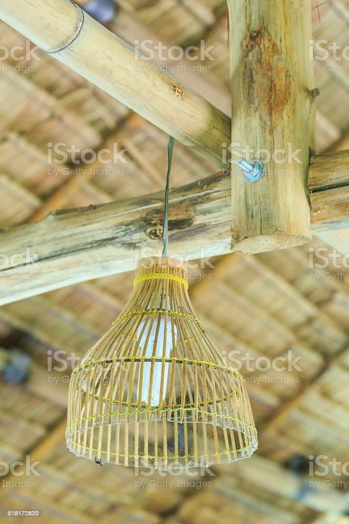 wicker woven lantern. stock photo