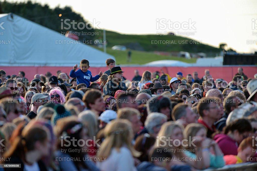 Wickerman festival goers stock photo