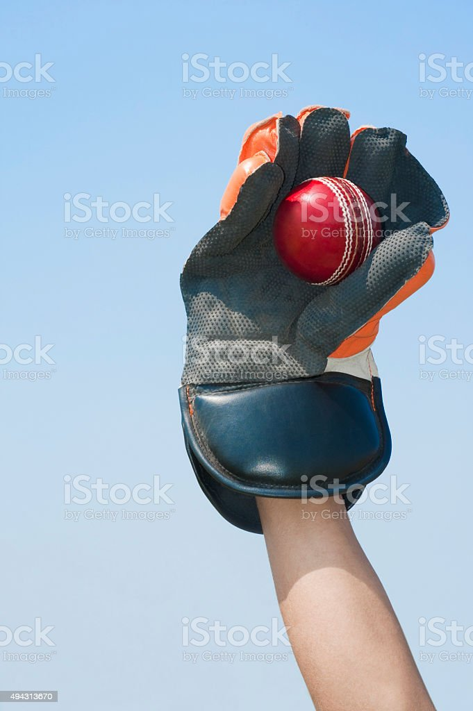 Wicket keeper catching a ball stock photo