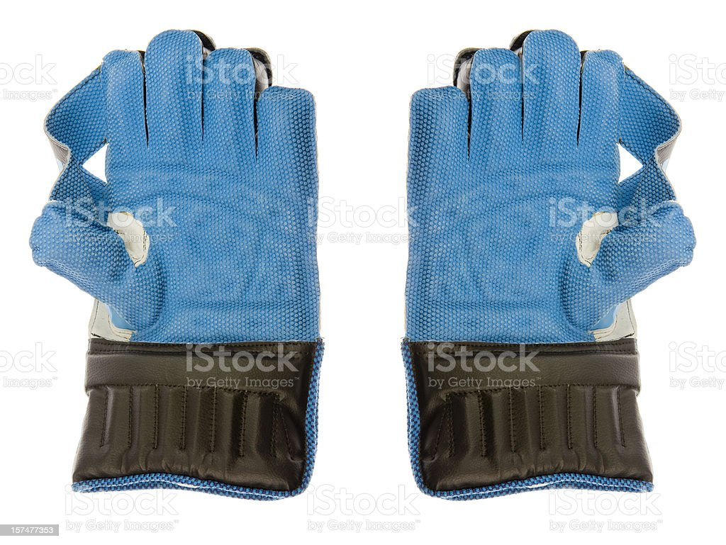 Wicket keeper gloves stock photo