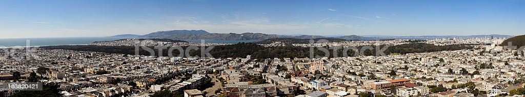Wide Aerial Panoramic View of San Francisco royalty-free stock photo