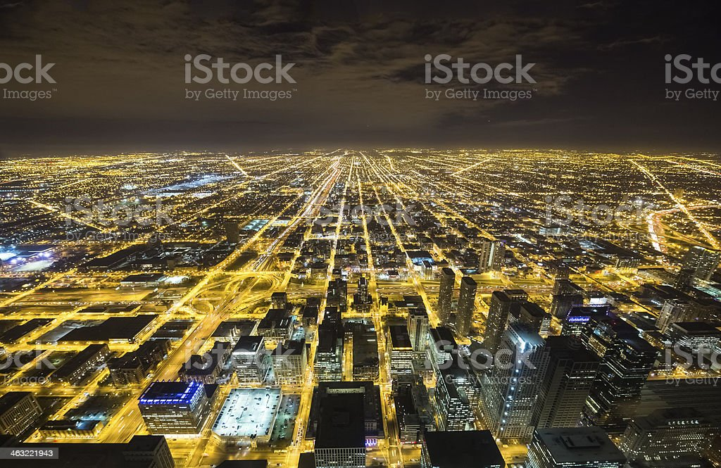Wide Aerial View of Chicago at Night stock photo