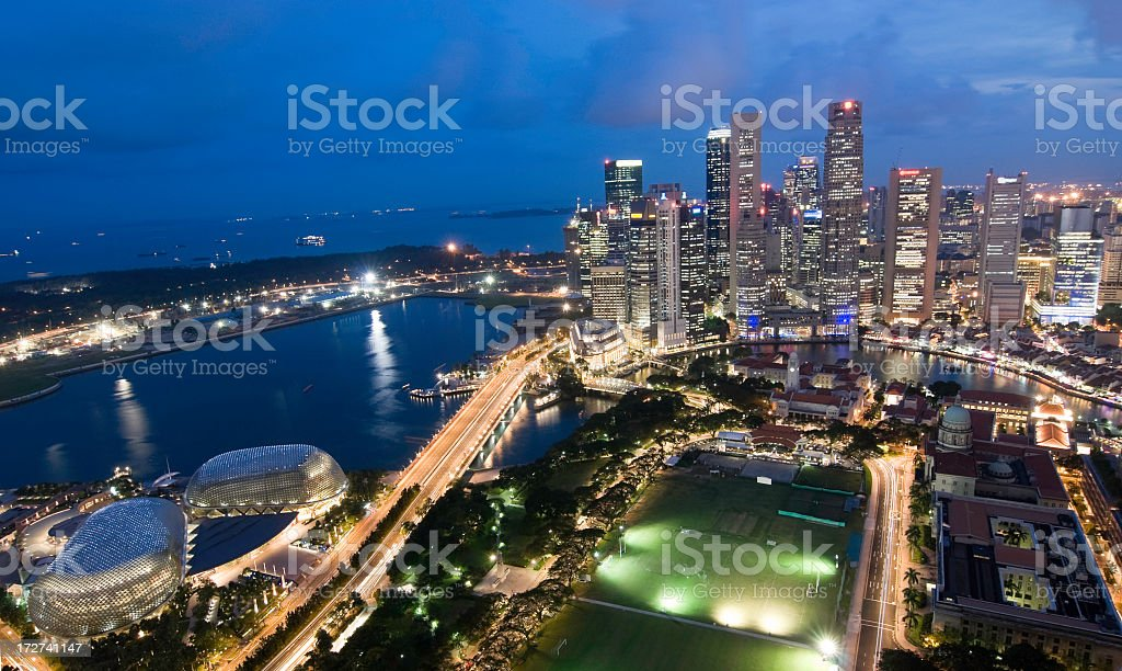 Wide aerial view of Singapore skyline at dusk royalty-free stock photo