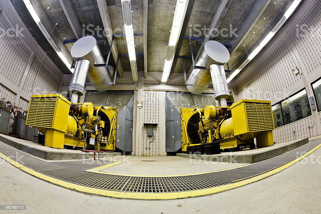 Wide Agle View Two Backup Diesel Generators stock photo
