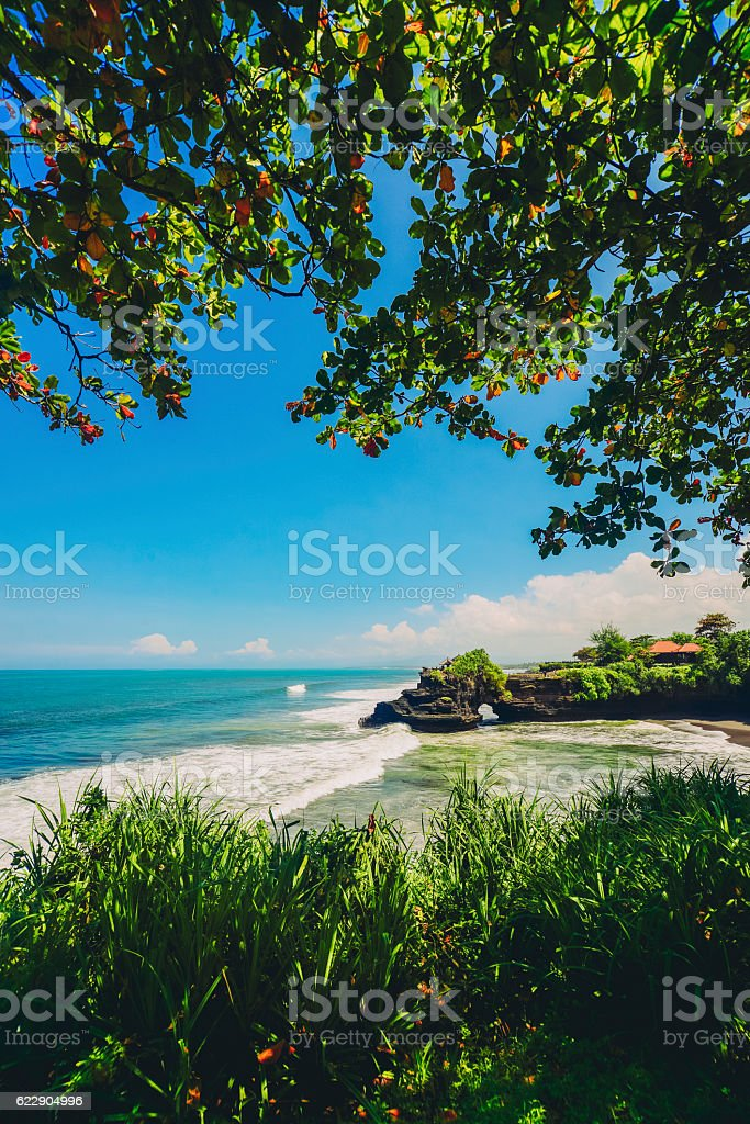 Wide Agnle view of Tanah Lot Temple, Bali Island, Indonesia stock photo