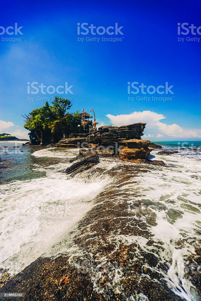 Wide Agnle view of Tanah Lot Water Temple, Bali, Indonesia stock photo