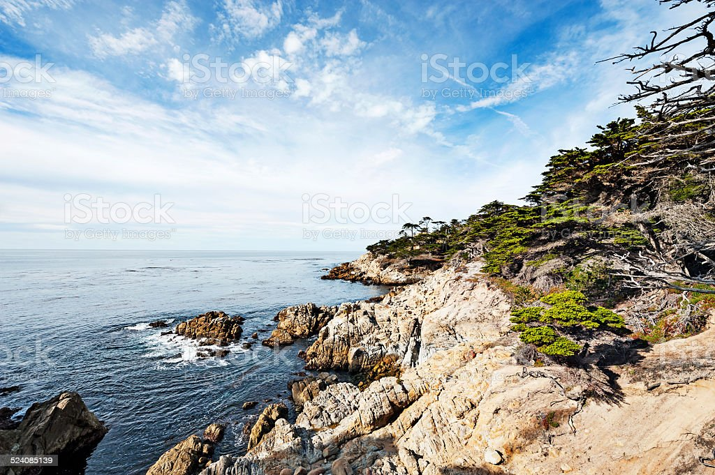 Wide Angle 17 mile drive coastline view from Pacific Grove stock photo
