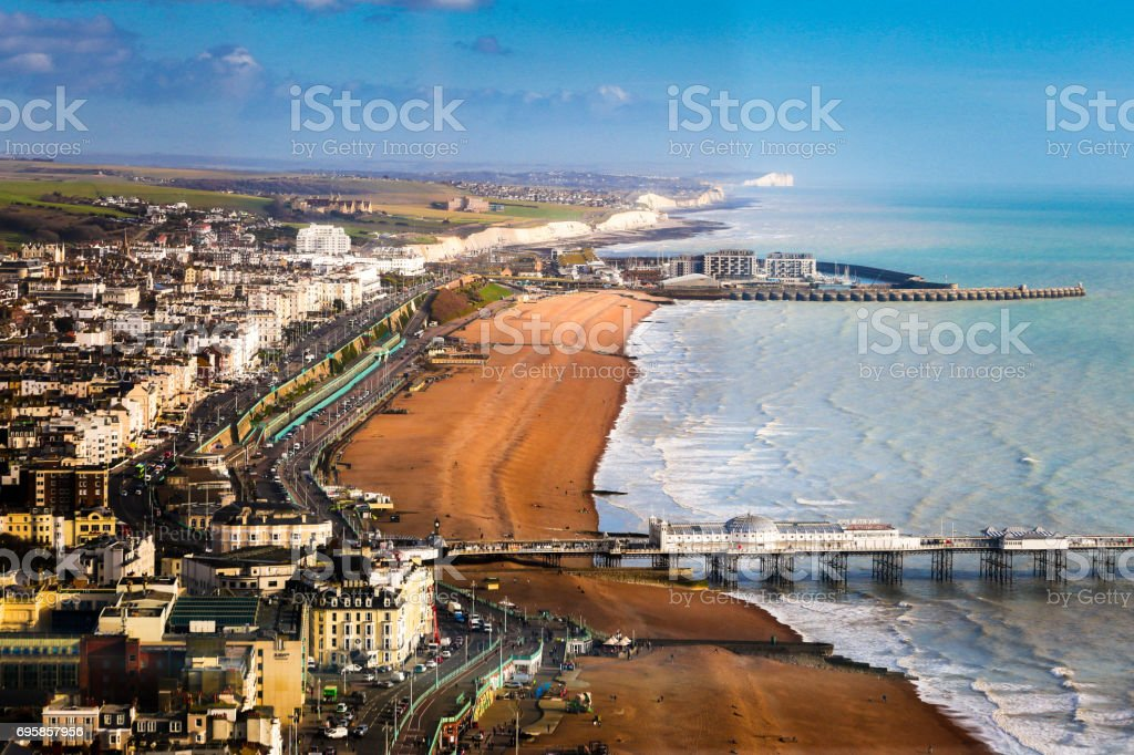 Wide angle aerial view of Brighton beach and coastline, Brighton, UK stock photo