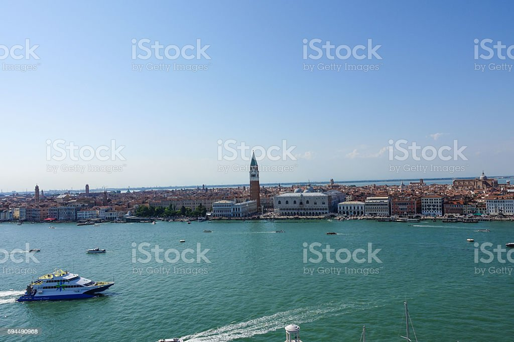Wide angle aerial view over the the skyline of Venice Lizenzfreies stock-foto