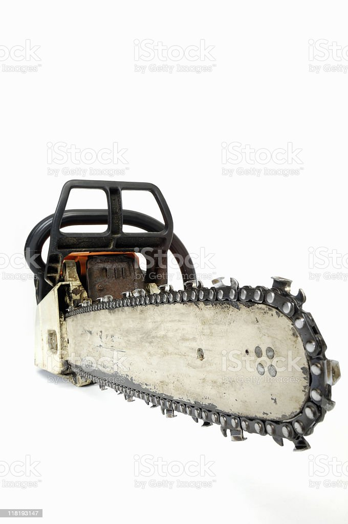 Wide angle chainsaw on white royalty-free stock photo