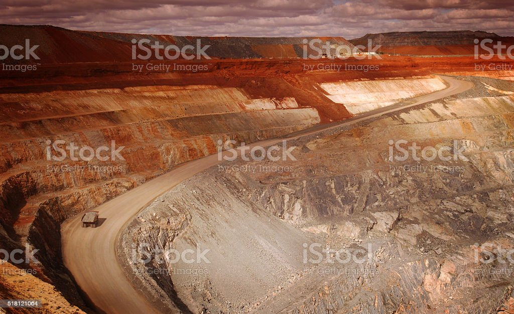 Wide angle elevated view of an open cut mine. stock photo
