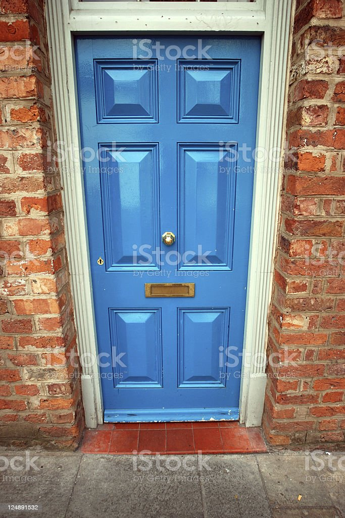 Wide angle light blue door royalty-free stock photo