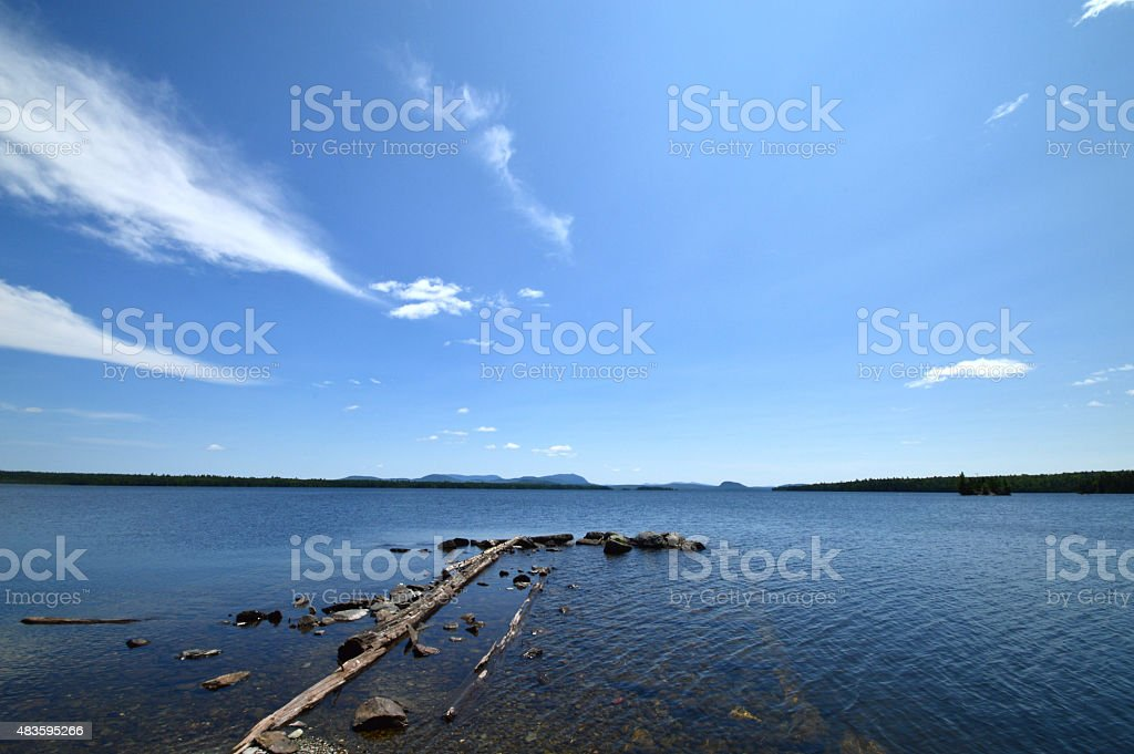 Wide Angle Moosehead Lake Northern View stock photo
