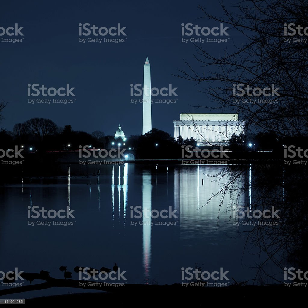 Wide angle of Abraham Lincoln Memorial illuminated at night royalty-free stock photo