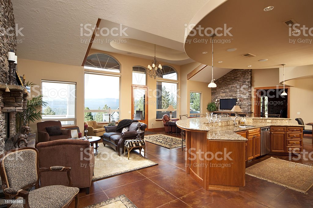 Wide angle of modern living room and kitchen royalty-free stock photo