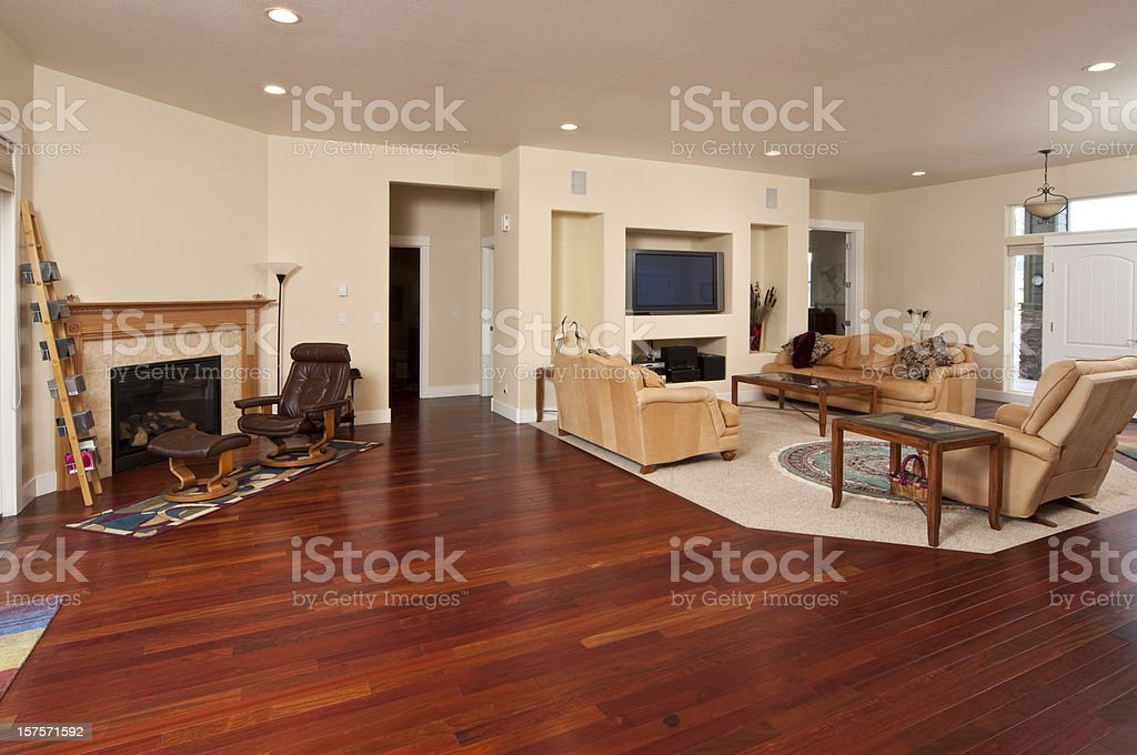 Wide angle of modern living room stock photo