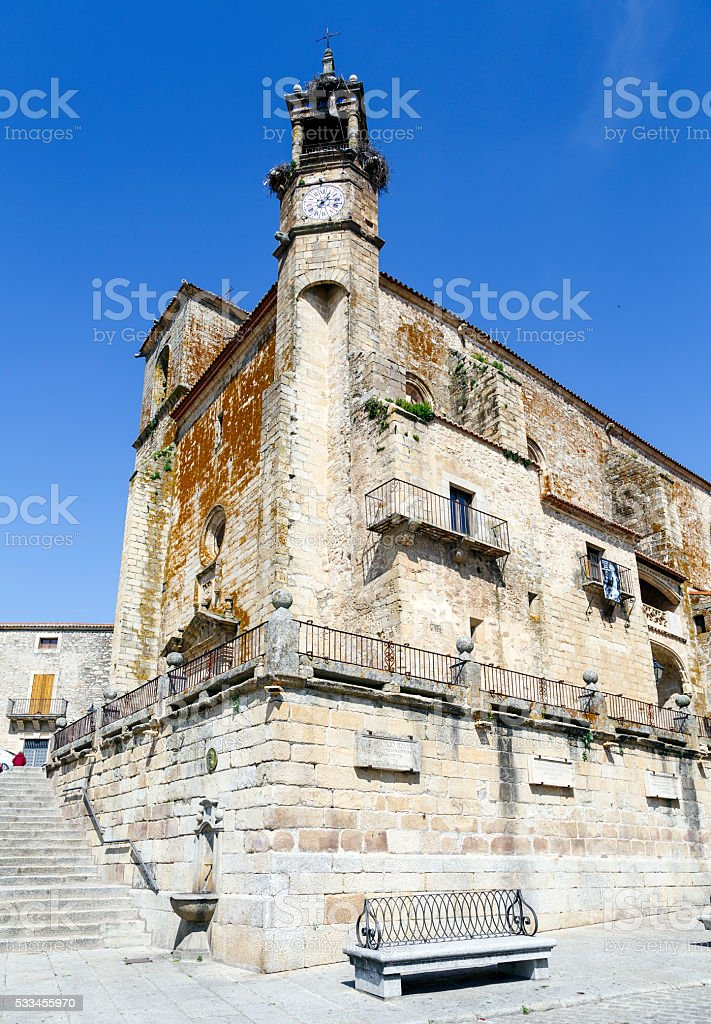 Wide angle of Saint Martin's church in Trujillo. Spain stock photo