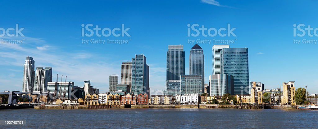 Wide angle of the Canary Wharf buildings in London royalty-free stock photo