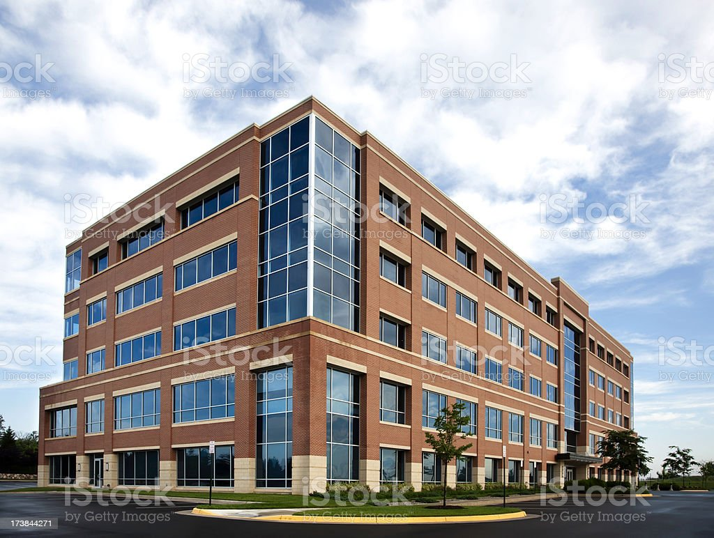 Wide angle office building exterior stock photo