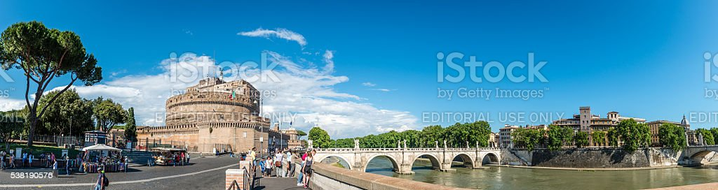 Wide angle panorama with tourists visiting Castel Sant'Angelo stock photo