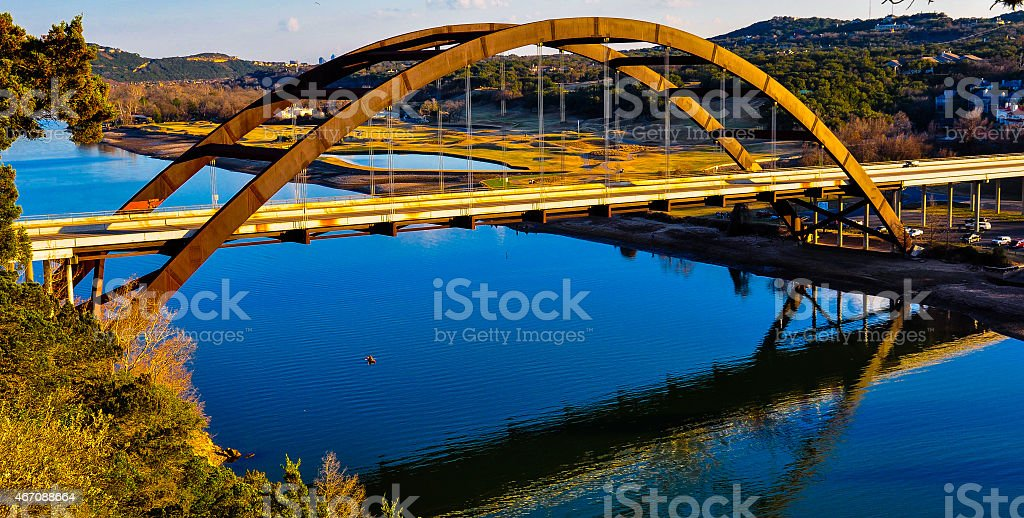 Wide Angle Pennybacker Bridge 360 Loop From Side Angle reflections stock photo