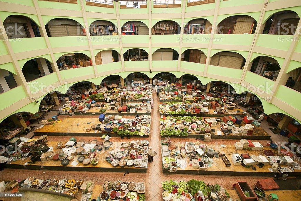 wide angle photo of site Khatijah market at malaysia stock photo