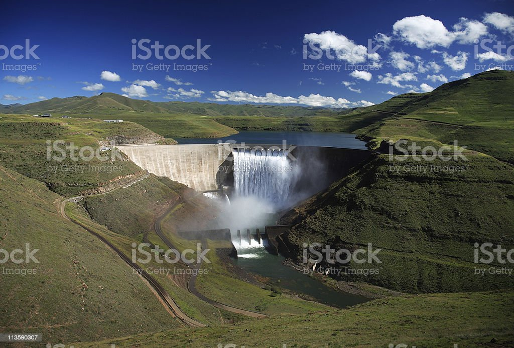 Wide angle photo of the Katse dam wall in Lesotho stock photo
