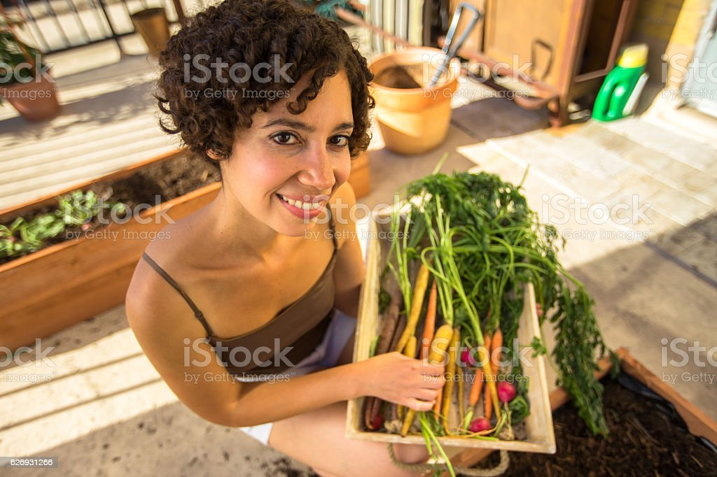 Wide Angle Portrait of Urban Gardener stock photo