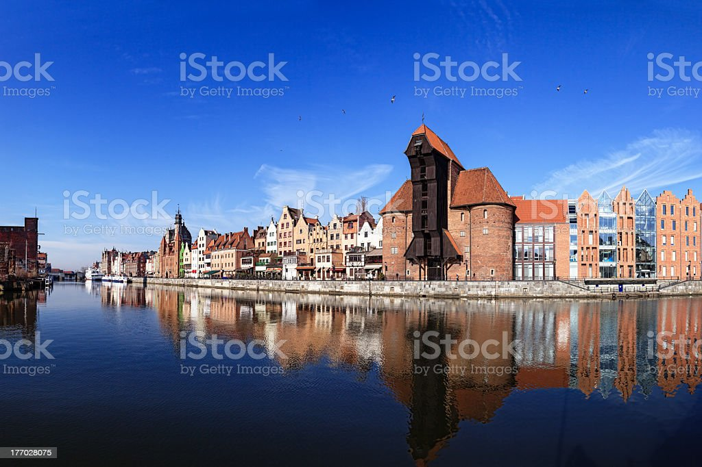 Wide angle riverside view of Gdansk stock photo