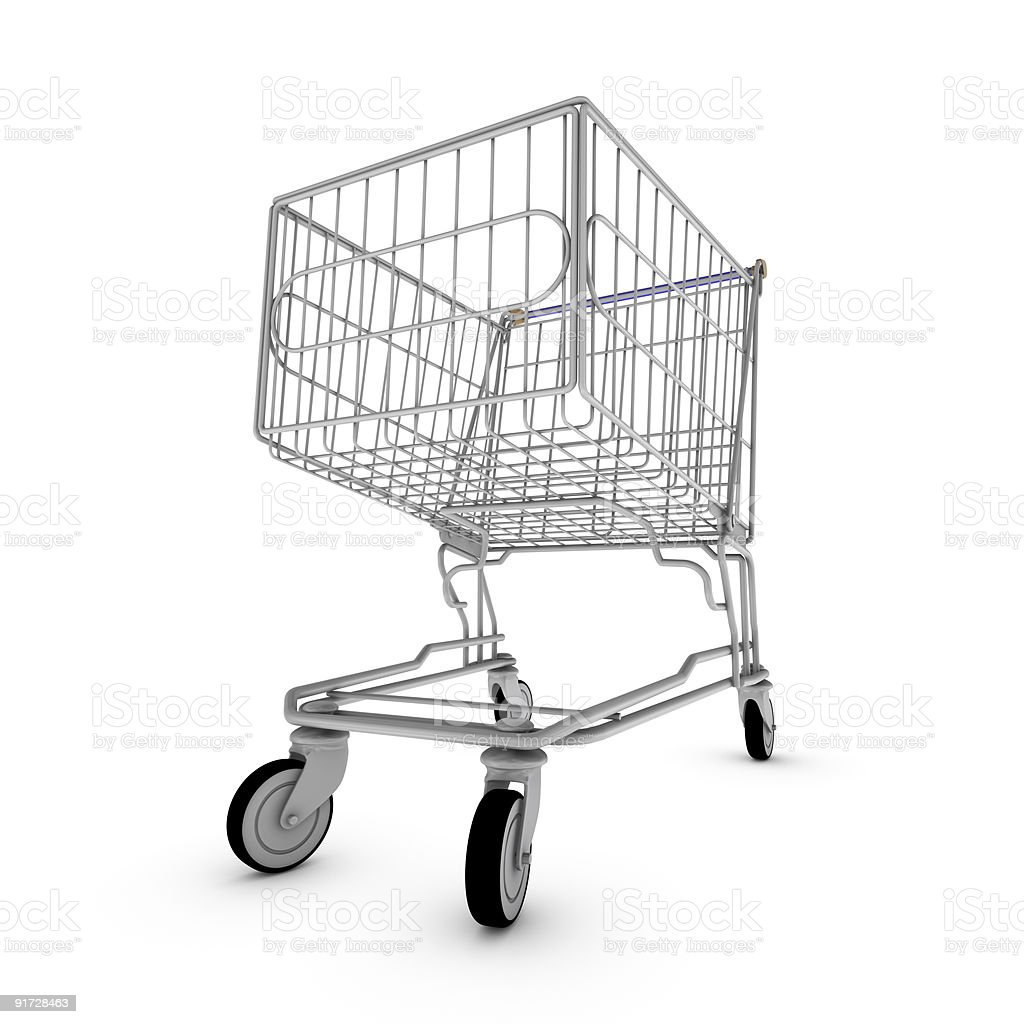 Wide angle shopping cart royalty-free stock photo