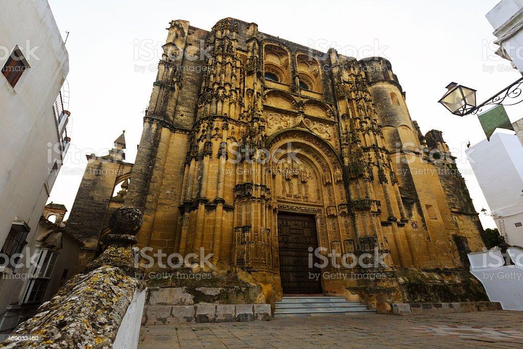 Wide angle shot of Basilica. Arcos de la Frontera stock photo