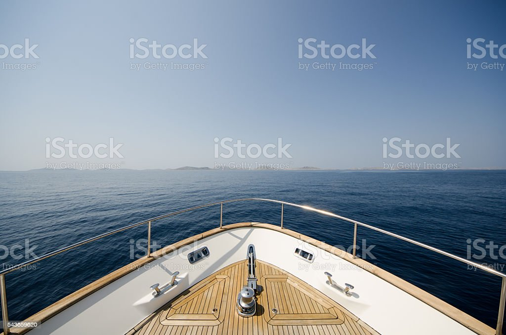 Wide angle shot of front of the yacht stock photo