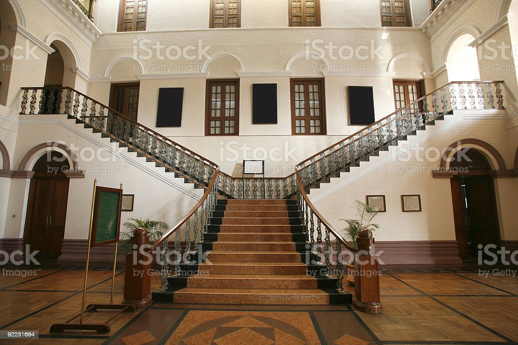 Wide angle shot of grand staircase in palace stock photo