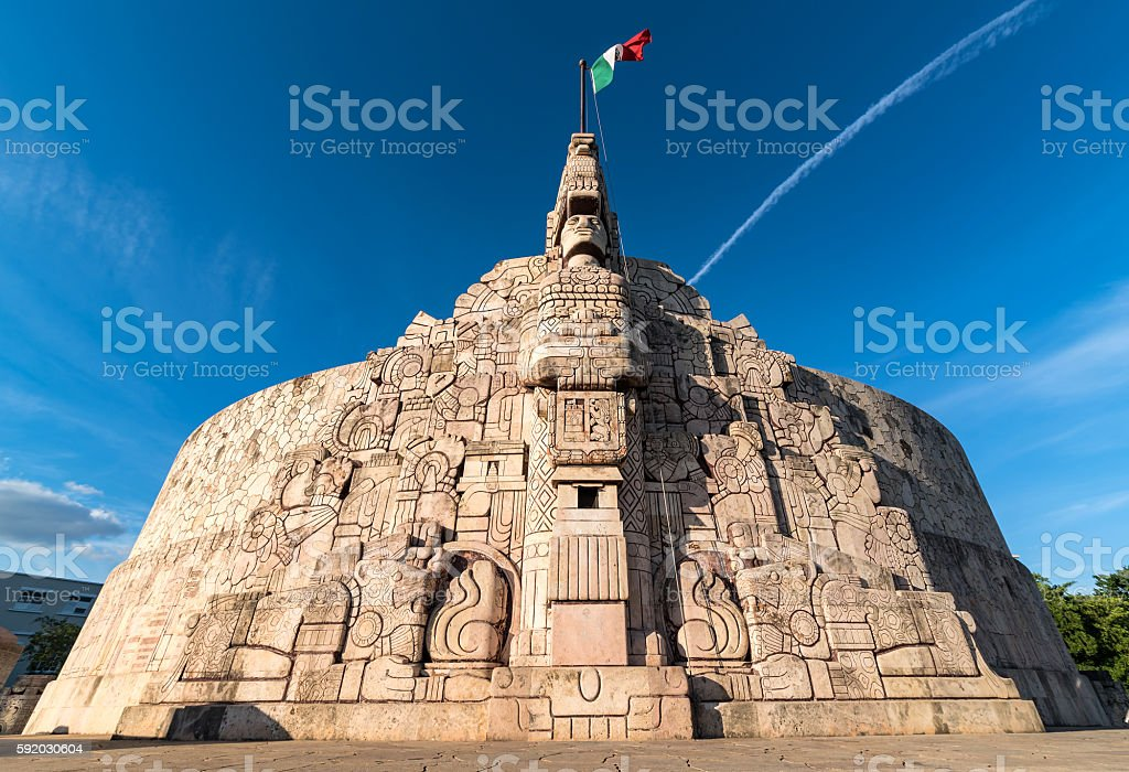 Wide angle shot of Homeland Monument, Paseo Montejo, Merida Yucatan stock photo