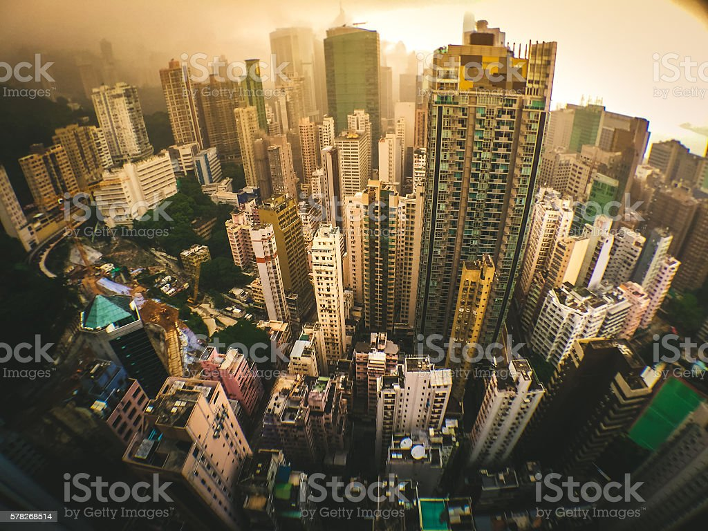 Wide angle shot of Hong Kong Skyscrapers royalty-free stock photo