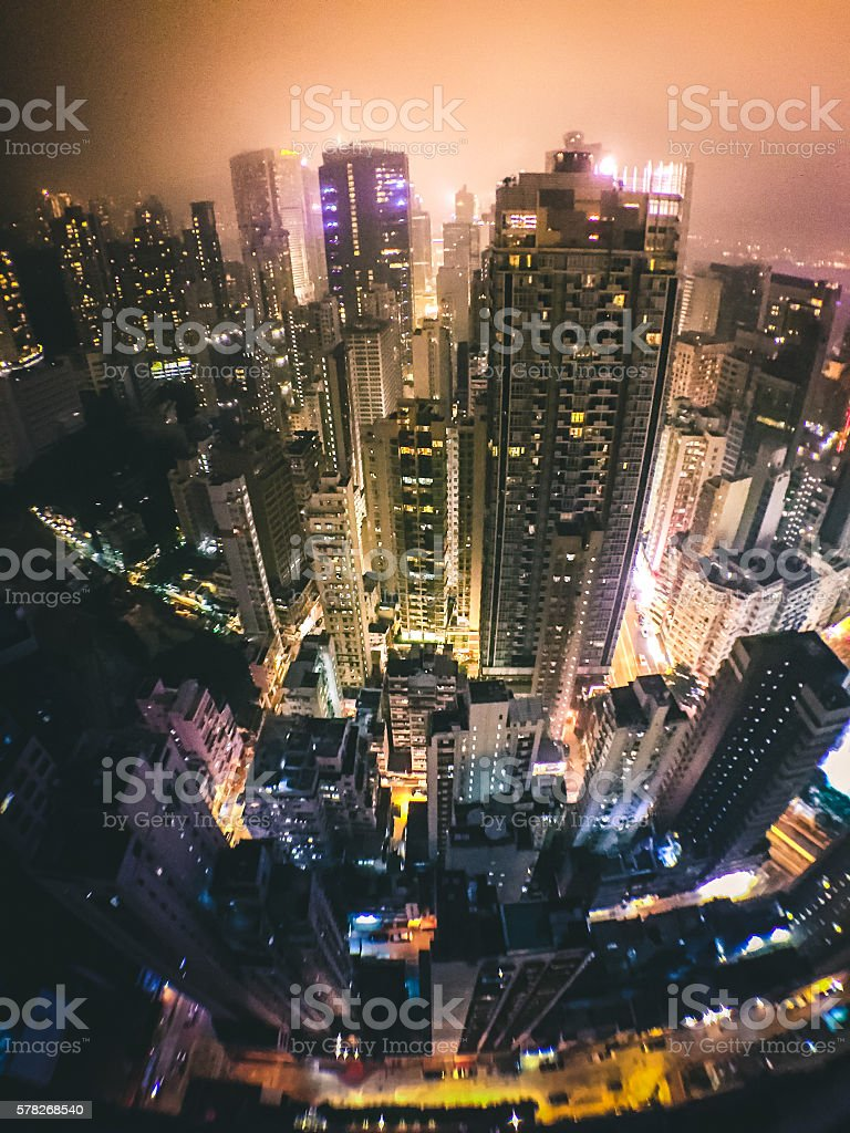 Wide angle shot of Hong Kong Skyscrapers royalty-free stock photo