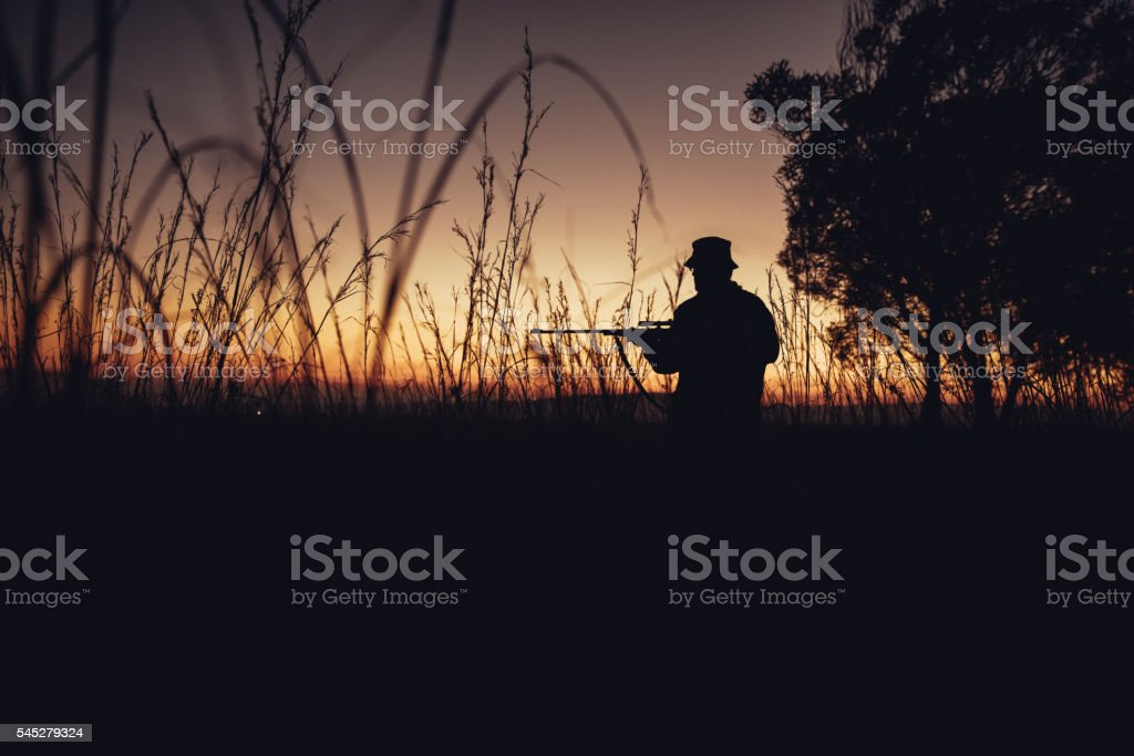 Wide angle shot of hunter standing in long grass with stock photo