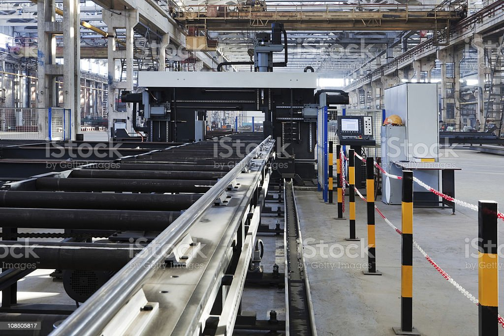 Wide angle shot of modern manufacturing line royalty-free stock photo