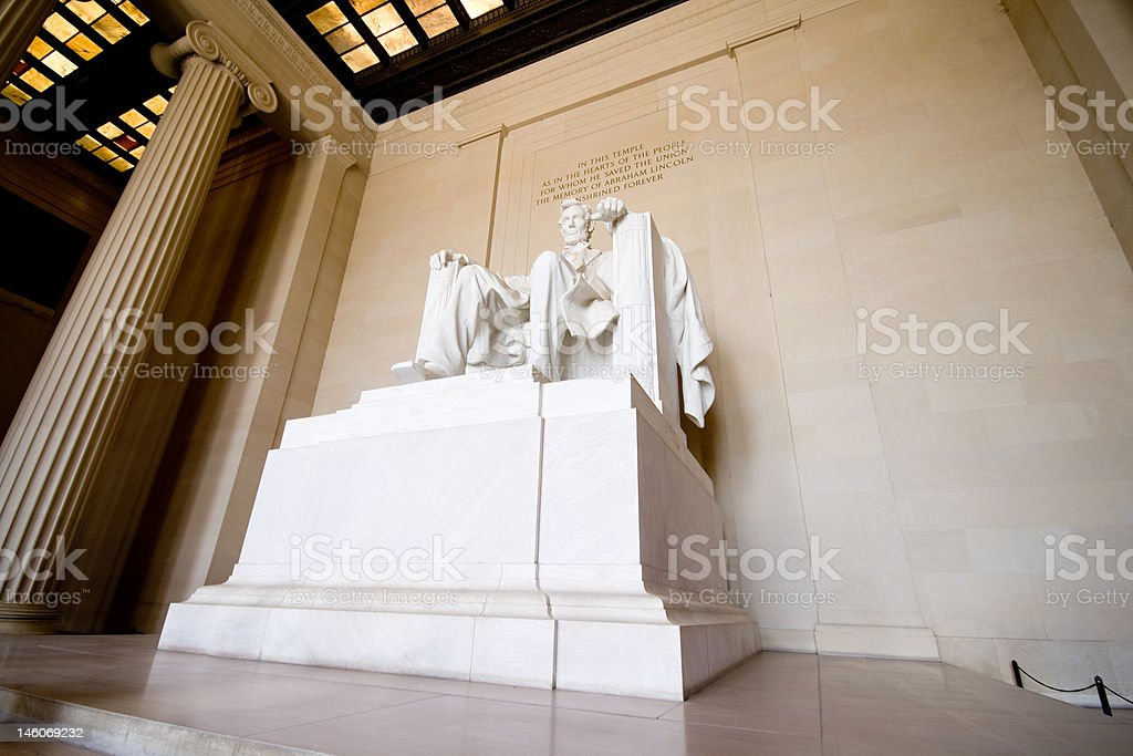 Wide Angle Shot of Statue in Lincoln Memorial, Washington, DC royalty-free stock photo
