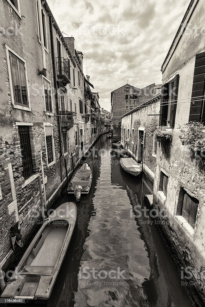 Wide angle shot of streets and canals in Venice royalty-free stock photo