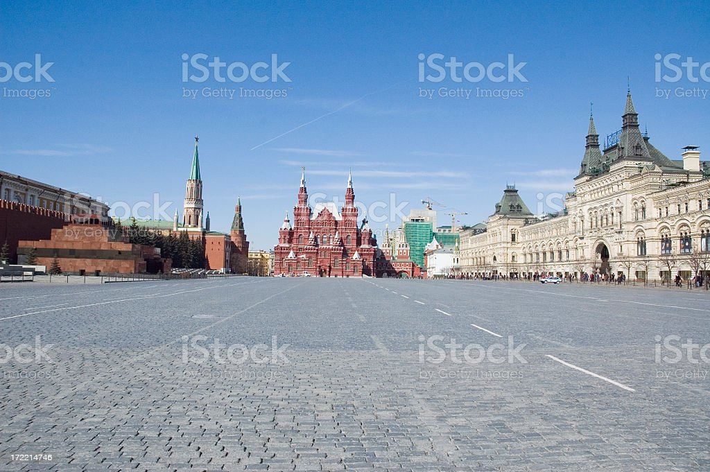 Wide angle shot of town square in Kremlin stock photo
