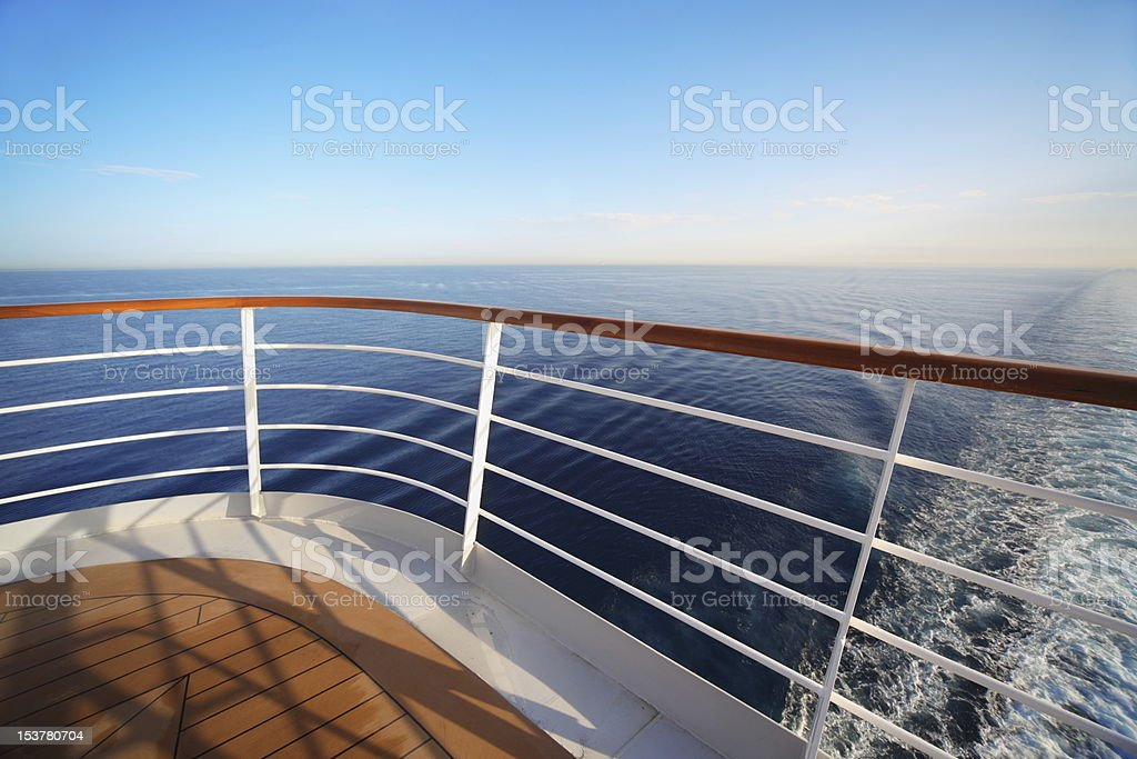 Wide angle shot of vast sea view from stern of cruise ship stock photo